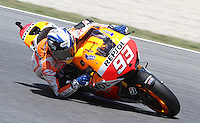 15.06.2013 Barcelona, Spain. Aperol  Catalonia Grand Prix. Picture show Marc Marqueza ridding Honda during MotoGP qualifyng at Circuit de Catalunya