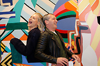 NEW YORK CITY - APRIL 19: Antonio Banderas and Poppy Delevingne attend the GENIUS: PICASSO interactive experience at the Genius: Studio, 100 Avenue of the Americas in New York City on April 19, 2018.  The Genius: Studio is an interactive installation designed to inspire people to create their own masterpieces. (Photo by Kena Betancur/National Geographic/PictureGroup)