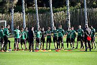 SOTOGRANDE  - Voetbal, Trainingskamp FC Groningen, seizoen 2017-2018, 12-01-2018, FC Groningen trainer Ernest Faber geeft instructie aan de groep