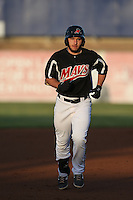 David Lyon (4) of the High Desert Mavericks runs the bases during a game against the Inland Empire 66ers at Mavericks Stadium on May 6, 2015 in Adelanto, California. Inland Empire defeated High Desert, 10-4. (Larry Goren/Four Seam Images)