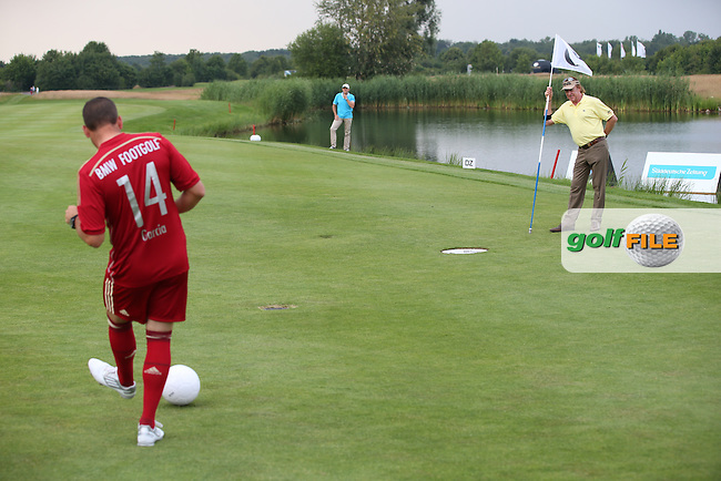 Sergio Garcia (ESP) shoots for the cup during the Foot Golf Challenge at the Opening Show Event of the BMW International Open 2014 from Golf Club Gut Lärchenhof, Pulheim, Köln, Germany. Picture:  David Lloyd / www.golffile.ie