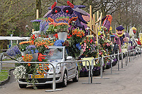 Flowers on float celebrating Queen's Day, a celebration of the Queen Mother, Princess Juliana, Amsterdam, Netherlands, Holland