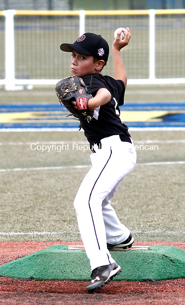 Waterbury, CT- 10 July 2014-071014CM04-  Overlook's Ryan Ponte delivers a pitch agains Bonnie's (Brooklyn, NY) during the opening round of the Roberto Clemente (7-8 year-old) North Atlantic Regional baseball tournament in Waterbury on Thursday.    Christopher Massa Republican-American