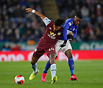 Tyrone Mings of Aston Villa tackled by Kelechi Iheanacho of Leicester City  during the Premier League match at the King Power Stadium, Leicester. Picture date: 9th March 2020. Picture credit should read: Darren Staples/Sportimage