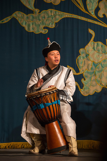 Traditional music performance with drum, at the National Academic Drama Theatre, Ulaanbaatar, Mongolia.