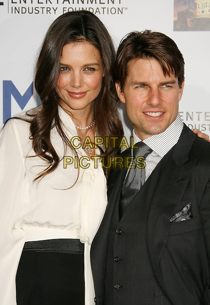 KATIE HOLMES & TOM CRUISE.Mentor LA's Promise Gala Honoring Tom Cruise held at 20th Century Fox Studios, Century City, California, USA,.22nd March 2007..half length white shirt blouse top suit black.CAP/ADM/RE.©Russ Elliot/AdMedia/Capital Pictures.