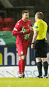 16th March 2018, McDiarmid Park, Perth, Scotland; Scottish Premier League football, St Johnstone versus Hibernian; Goalkeeper Ofir Marciano of Hibernian is sent off for handball outside the box in minute 13