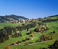 Schweiz, Kanton Appenzell Ausserrhoden, Appenzellerland, Blick auf den Ort Wald mit Dorfkirche | Switzerland, Canton Appenzell Ausserrhoden: village Wald