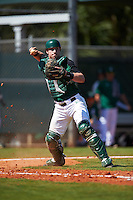 Dartmouth Big Green catcher Adam Gauthier (18) throws to first base during a game against the Eastern Michigan Eagles on February 25, 2017 at North Charlotte Regional Park in Port Charlotte, Florida.  Dartmouth defeated Eastern Michigan 8-4.  (Mike Janes/Four Seam Images)