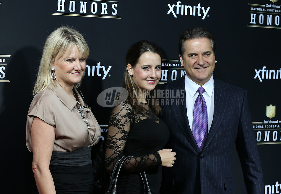 Feb. 2, 2013; New Orleans, LA, USA: NFL former coach Steve Mariucci (right) with wife Gayle Mariucci  (left) and daughter Breille Mariucci on the red carpet prior to the Super Bowl XLVII NFL Honors award show at Mahalia Jackson Theater. Mandatory Credit: Mark J. Rebilas-USA TODAY Sports