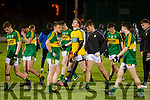 Kerry players after being defeated by Cork in the U-21 Munster Football Final at Austin Stack Park, Tralee on Thursday evening.