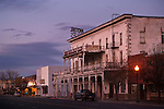 Dusk over old hotel in downtown Alturas, Modoc County, California
