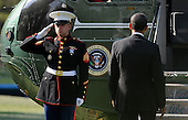 United States President Barack Obama departs the White House en route West Palm Beach, Florida on the South Lawn of the White House on April 10, 2012 in Washington, DC. .Credit: Olivier Douliery / Pool via CNP