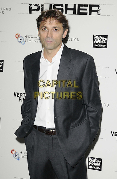 Luis Prieto.attended the 'Pusher' Gala Screening, Hackney Picturehouse, Mare St., London, England, UK, .4th October 2012..half length grey gray suit jacket white shirt hands in pockets .CAP/CAN.©Can Nguyen/Capital Pictures.
