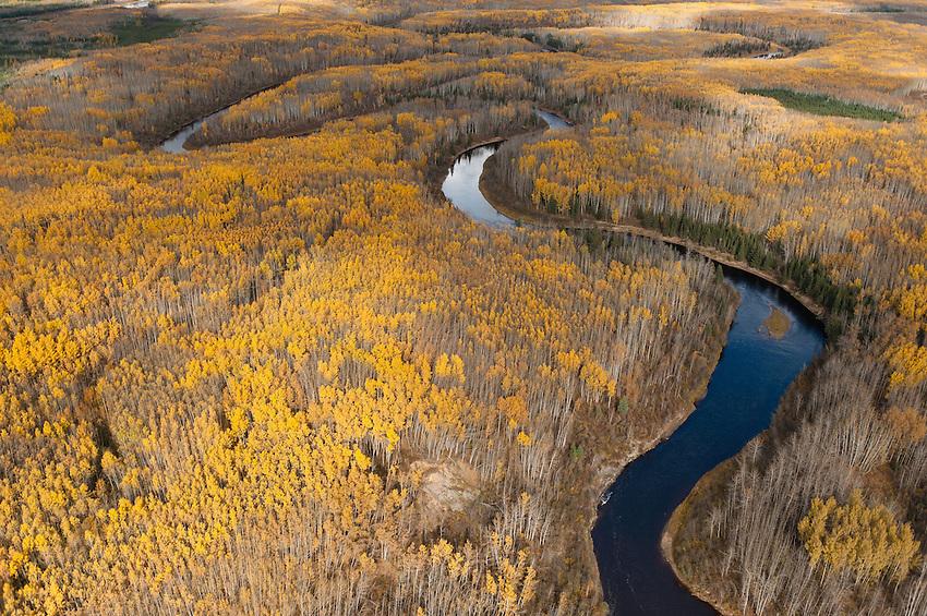 MaKay River. Alberta Tar sands, Alberta Oil Sands Mackay River and boreal Forest beside Alberta Tar, Oil Sands.