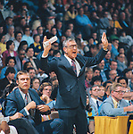 31 MAR 1975:  UCLA coach John Wooden during the NCAA Men's National Basketball Final Four championship game against Kentucky held in San Diego, CA, at the Sprots Arena. UCLA defeated Kentucky 92-85 for the title. Photo by Rich Clarkson/NCAA Photos.SI CD 0022-29