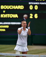 July 5, 2014, United Kingdom, London, Tennis, Wimbledon, AELTC, Ladie's Singles Final:  Eugenie Bouchard (CAN)  vs Petra Kvitova (CZE), Pictured: Petra Kvitova  celebrates her victory.<br /> Photo: Tennisimages/Henk Koster