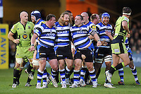 The Bath front row of David Wilson, Ross Batty and Paul James celebrate after a dominant scrum leads to a penalty. Aviva Premiership match, between Bath Rugby and Northampton Saints on May 2, 2014 at the Recreation Ground in Bath, England. Photo by: Patrick Khachfe / Onside Images