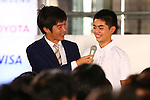 Yuto Oshio,<br /> JULY 24, 2015 : <br /> The Tokyo Organising Committee of the Olympic and Paralympic Games unveils the official emblem for the 2020 Tokyo Olympic and Paralympic Games at the forecourt of the Tokyo Metropolitan Assembly building in Tokyo, Japan, <br /> This event took place five-year before the Tokyo 2020 Olympics.<br /> (Photo by Shingo Ito/AFLO SPORT)