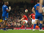 17th March 2018, Principality Stadium, Cardiff, Wales; NatWest Six Nations rugby, Wales versus France; Leigh Halfpenny of Wales kicks the penalty to make the score 14-10