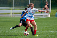 Kansas City, MO - Saturday September 9, 2017: Becca Moros, Sofia Huerta during a regular season National Women's Soccer League (NWSL) match between FC Kansas City and the Chicago Red Stars at Children's Mercy Victory Field.