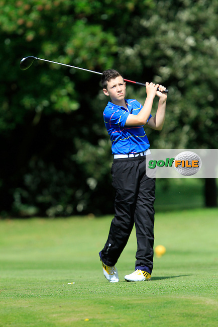Sean Downes (Beaverstown) on the 11th tee during the Irish Boys Under 13 Amateur Open Championship in Malahide Golf Club on Monday 11th August 2014.<br /> Picture:  Thos Caffrey / www.golffile.ie