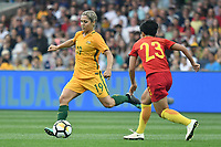26 November 2017, Melbourne - KATRINA GORRY (19) of Australia kicks the ball during an international friendly match between the Australian Matildas and China PR at GMHBA Stadium in Geelong, Australia.. Australia won 5-1. Photo Sydney Low