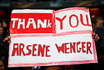 An Arsenal fan shows support for Arsene Wenger during the Europa League Semi Final 1st Leg, match at the Emirates Stadium, London. Picture date: 26th April 2018. Picture credit should read: David Klein/Sportimage