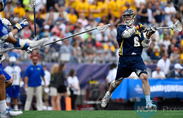 FOXBORO, MA - MAY 28: Jeremy Burns (6) of Merrimack College with the ball during the Division II Men's Lacrosse Championship held at Gillette Stadium on May 28, 2017 in Foxboro, Massachusetts. (Photo by Larry French/NCAA Photos via Getty Images)