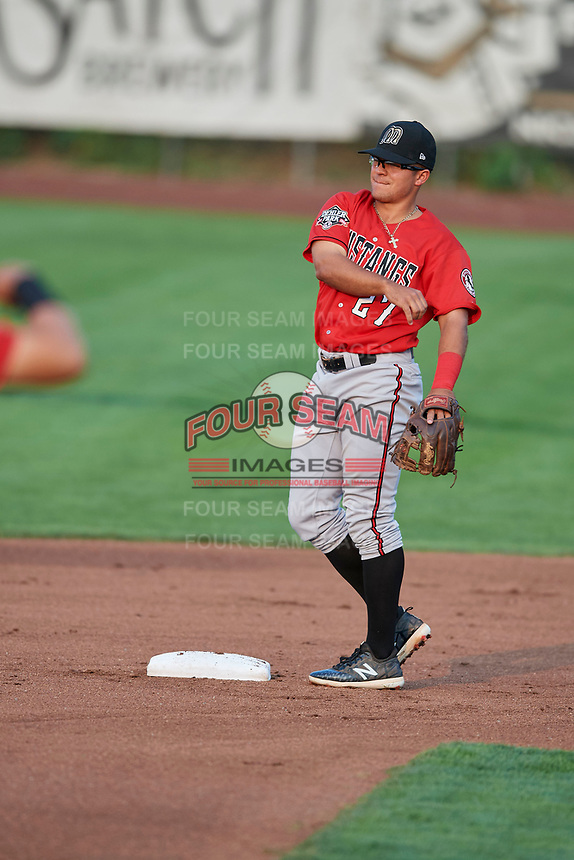 Dylan Harris (27) of the Billings Mustangs during a game against the Ogden Raptors at Lindquist Field on August 18, 2018 in Ogden, Utah. Billings defeated Ogden 6-4. (Stephen Smith/Four Seam Images)
