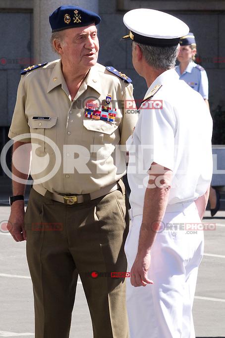 02.08.2012. King Juan Carlos I visits the State Mayor of Defense in Madrid with Pedro Morenes y Alvarez de Eulate, Minister of defense and Fernando Garcia Sanchez, Minister of defense, chief JEMAD. In the image: King Juan Carlos I and Fernando Garcia Sanchez  (Alterphotos/Marta Gonzalez) /NortePhoto.com<br /> <br /> <br /> **CREDITO*OBLIGATORIO** <br /> *No*Venta*A*Terceros*<br /> *No*Sale*So*third*<br /> *** No Se Permite Hacer Archivo**<br /> *No*Sale*So*third*