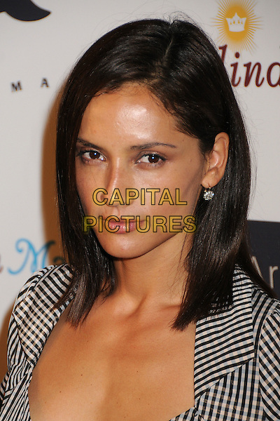 LEONOR VARELA.Whaleman Foundation Benefit Dinner at Beso Restaurant, Hollywood, California, USA..August 10th, 2008.headshot portrait black white gingham .CAP/ADM/BP.©Byron Purvis/AdMedia/Capital Pictures.