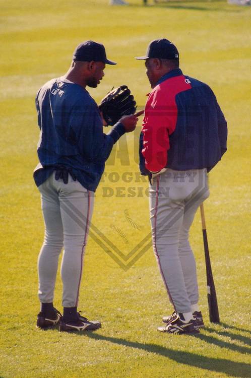MILWAUKEE - April 1997: Marquis Grissom (left) chats with coach Davey Nelson of the Cleveland Indians prior to a game on April 24, 1997 at Milwaukee County Stadium in Milwaukee, Wisconsin. (Photo by Brad Krause)