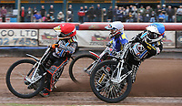 Heat 1: George Hunter (blue), Ben Morley (red) and Mark Baseby (white)<br /> <br /> Photographer Rob Newell/CameraSport<br /> <br /> National League Speedway - Lakeside Hammers v Eastbourne Eagles - Lee Richardson Memorial Trophy, First Leg - Friday 14th April 2017 - The Arena Essex Raceway - Thurrock, Essex<br /> &copy; CameraSport - 43 Linden Ave. Countesthorpe. Leicester. England. LE8 5PG - Tel: +44 (0) 116 277 4147 - admin@camerasport.com - www.camerasport.com
