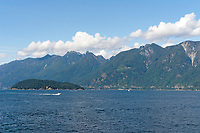 Queen Charlotte Channel and Coast Mountains from the Bowen Island Ferry, British Columbia, Canada
