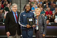 DENVER, CO--Chiney Ogwumike receives her award during the WBCA All American awards at the Pepsi Center for the 2012 NCAA Women's Final Four festivities in Denver, CO.