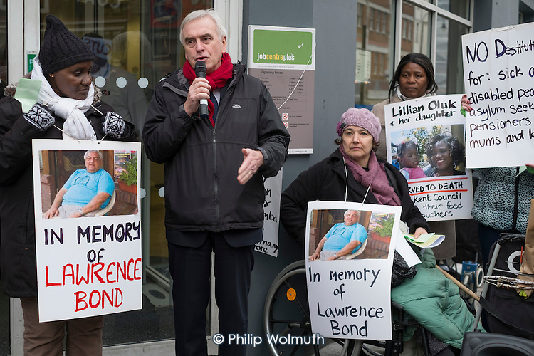 John McDonnell MP. Vigil for Lawrence Bond, who died after being found fit for work and losing his disability benefits, Kentish Town Jobcentre London.