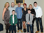 Alison Cowley celebrating her 40th birthday in the d hotel with husband Steven, sons Adam and Luke, mother Bertha, brother Gary, sister inlaw Yvonne and nephew James. Photo:Colin Bell/pressphotos.ie