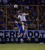 Brian Ching heads the ball during FIFA World Cup qualifier against El Salvador. USA tied El Salvador 2-2 at Estadio Cuscatlán Stadium in El Salvador on March 28, 2009.