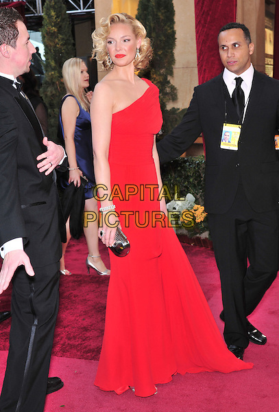 KATHERINE HEIGL.The 80th Annual Academy Awards arrivals held at the Kodak Theatre, Hollywood, California, USA. .February 24th, 2008.oscars full length dress one shoulder red   bronzer make-up make up look closer.CAP/ADM/GB.©Gary Boas/AdMedia/Capital Pictures.