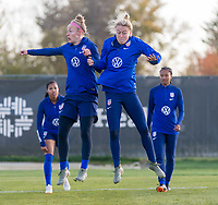 COLUMBUS, OH - NOVEMBER 3: Becky Sauerbrunn #4 and Emily Sonnett #14 of the United States go through a drill at Columbus Crew Training Facility on November 3, 2019 in Columbus, Ohio.