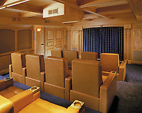 Golden Oak Color Theater Room With Motorized Shades