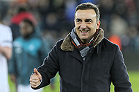 Swansea manager Carlos Carvalhal celebrates his team's win during the Premier League match between Swansea City and Liverpool at The Liberty Stadium, Swansea, Wales, UK. Monday 23 January 2018