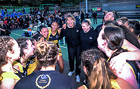 Wellington celebrates winning the 2018 Netball NZ National Under-17 Championship final between Auckland 1 and Wellington A Black at Vautier Park in Palmerston North, New Zealand on Thursday, 19 July 2018. Photo: Dave Lintott / lintottphoto.co.nz