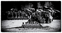 """Henley on Thames,  GREAT BRITAIN,  3rd March 2003, Rowing - Henley Boat Races (Women's Varsity Boat Race), 2003 Women's Boat Race,  Cambridge, Blue Boat followed by the umpires launch,  Sport,, """"Film Noir Style Photography"""", © Peter SPURRIER,"""