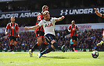 Harry Kane has a shot at goal during the English Premier League match at the White Hart Lane Stadium, London. Picture date: April 15th, 2017.Pic credit should read: Chris Dean/Sportimage