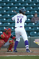 Gavin Sheets (24) of the Winston-Salem Dash at bat against the Salem Red Sox at BB&T Ballpark on April 20, 2018 in Winston-Salem, North Carolina.  The Red Sox defeated the Dash 10-3.  (Brian Westerholt/Four Seam Images)