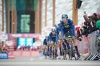 Team Movistar off the start ramp<br /> Giro d'Italia 2014<br /> stage 1: TTT
