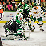 24 October 2015: University of North Dakota Goaltender Matt Hrynkiw, a Junior from Saskatoon, Saskatchewan, makes a second period save against the University of Vermont Catamounts at Gutterson Fieldhouse in Burlington, Vermont. North Dakota defeated the Catamounts 5-2 in the second game of their weekend series. Mandatory Credit: Ed Wolfstein Photo *** RAW (NEF) Image File Available ***