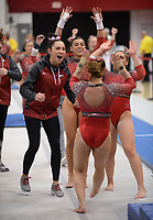 Arkansas' Amanda Elswick celebrates Friday, Feb. 7, 2020, after her performance in the vault portion of the Razorbacks' meet with Georgia in Barnhill Arena in Fayetteville. Visit  nwaonline.com/gymbacks/ for a gallery from the meet.<br /> (NWA Democrat-Gazette/Andy Shupe)